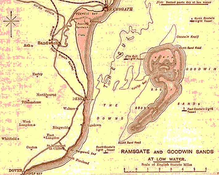 Map showing Coast of Ramsgate and the Goodwin Sands