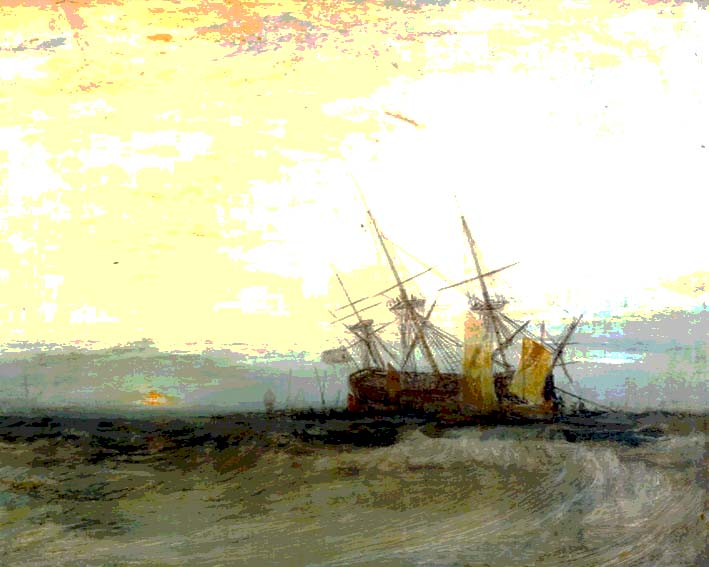 A Ship Aground, Yarmouth; Sample Study c.1827-8 by Joseph Mallord William Turner 1775-1851