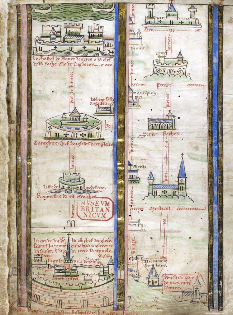 Historia Anglorum - caption: 'Itinerary by Matthew Paris'